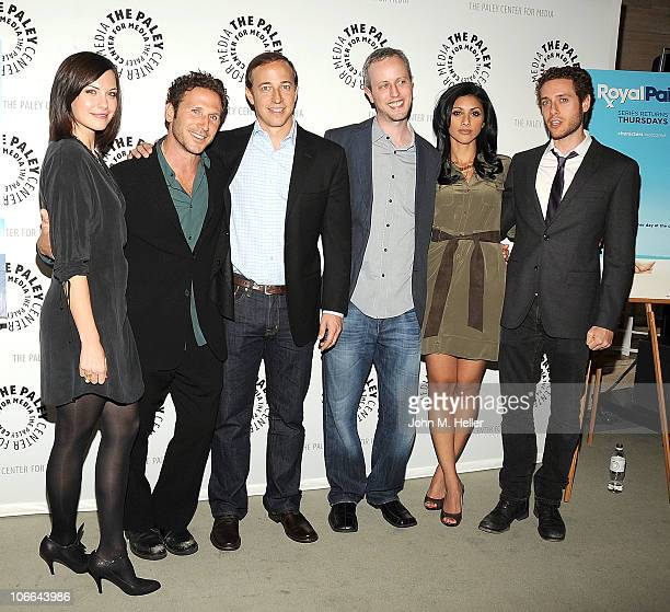 Actors Jill Flint Mark Feuerstein executive producers of 'Royal Pains' Michael Rauch and Andrew Lenchewski actors Reshma Shetty and Paulo Costanzo...