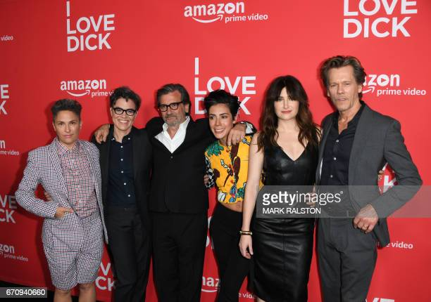 Actors Jill Soloway Sarah Gubbins Griffin Dunne Roberta Colindrez Kathryn Hahn and Kevin Bacon arrive for the premiere of Amazon's 'I Love Dick' at...