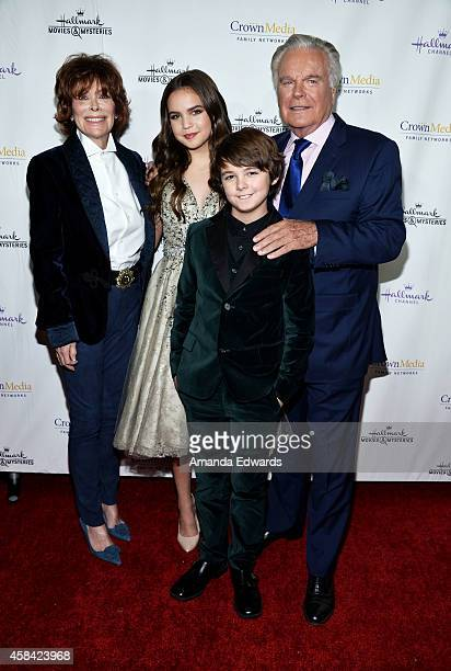 Actors Jill St John Bailee Madison Max Charles and Robert Wagner arrive at the Hallmark Channel's Holiday Christmas world premiere screening of...