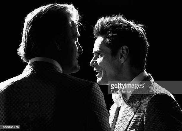 Actors Jim Carrey and Jeff Daniels arrive at the premiere of Universal Pictures and Red Granite Pictures' 'Dumb And Dumber To' on November 3 2014 in...