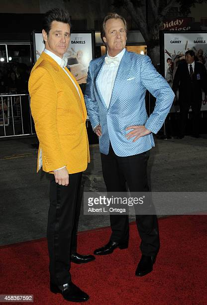Actors Jim Carrey and Jeff Daniels arrive for the Premiere Of Universal Pictures And Red Granite Pictures' 'Dumb And Dumber To' held at the Regency...