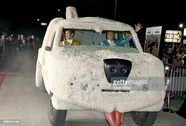 Actors Jim Carrey and Jeff Daniels attend the premiere of Universal Pictures and Red Granite Pictures' 'Dumb And Dumber To' on November 3 2014 in...