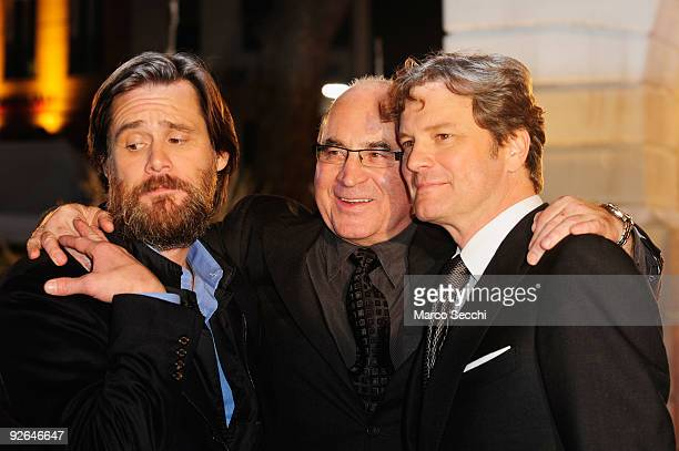 Actors Jim Carrey Bob Hoskins and Colin Firth pose for the cameras during the World Film Premiere of Disney's 'A Christmas Carol' at the Odeon...