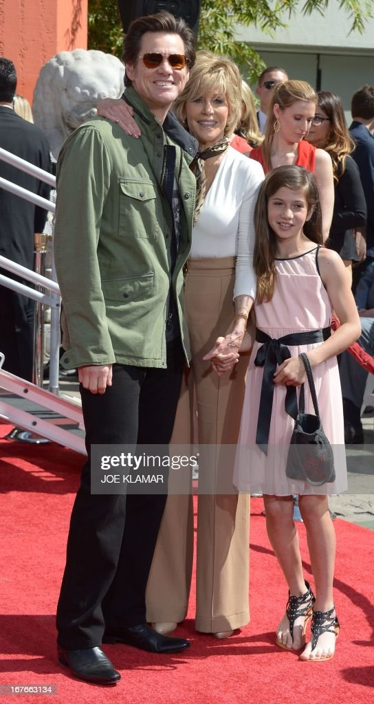 Actors Jim Carrey (L), Jane Fonda (C) and granddaughter Viva Vadim attend Fonda's Handprint/Footprint Ceremony during the 2013 TCM Classic Film Festival at TCL Chinese Theatre on April 27, 2013 in Los Angeles. Fonda is an American actress, writer, political activist, former fashion model, and fitness guru. She rose to fame in the 1960s with films such as Barbarella and Cat Ballou. She has won two Academy Awards, an Emmy Award, three Golden Globes and received several other movie awards and nominations during more than 50 years as an actress. After 15 years of retirement, she returned to film in 2005 with Monster-in-Law, followed by Georgia Rule two years later. She also produced and starred in over 20 exercise videos released between 1982 and 1995, and once again in 2010.