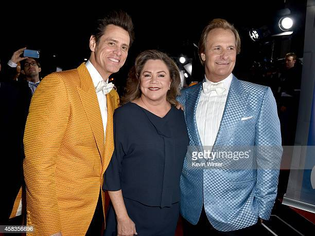 Actors Jim Carrey Kathleen Turner and Jeff Daniels attend the premiere of Universal Pictures and Red Granite Pictures' 'Dumb And Dumber To' on...