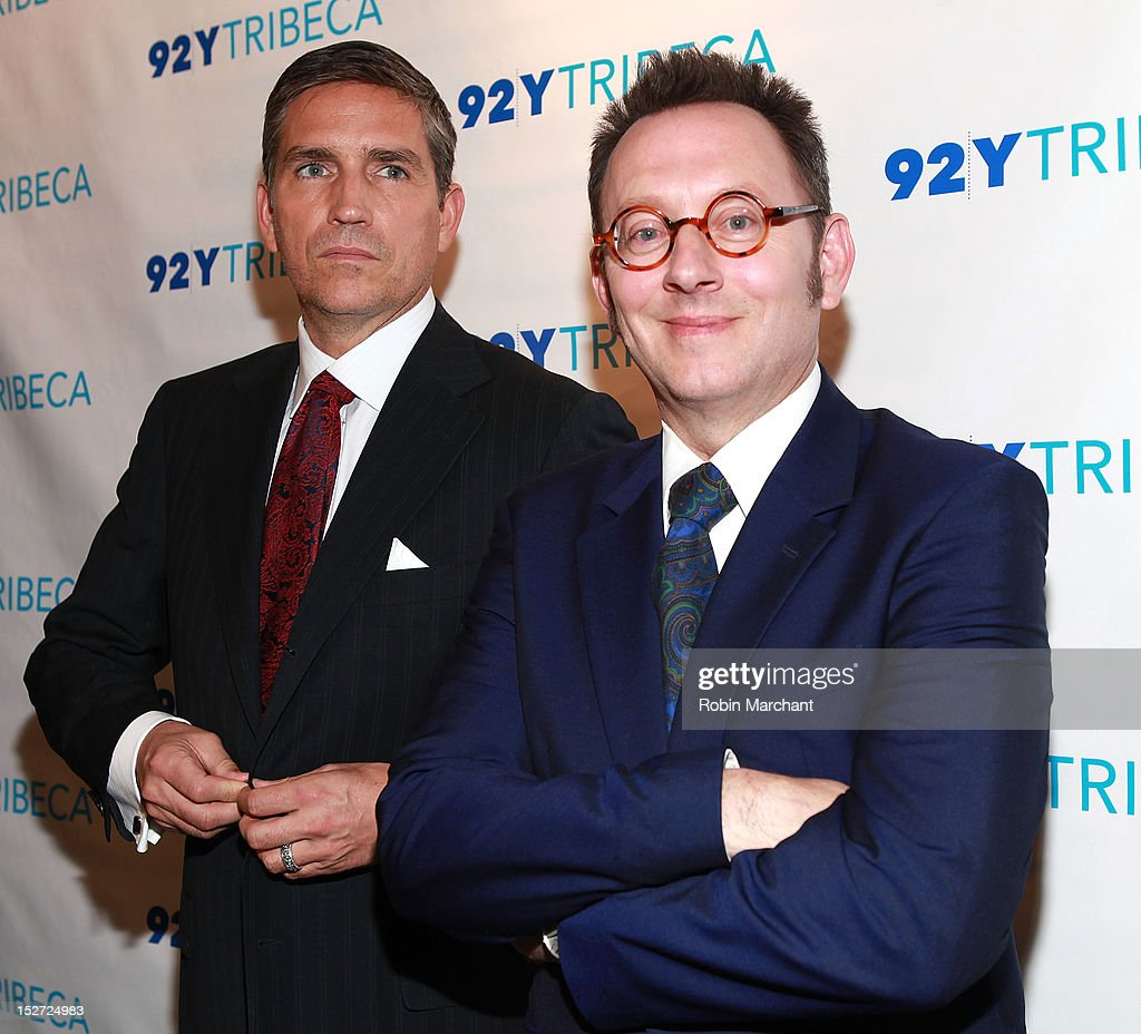 Actors Jim Caviezel (L) and <a gi-track='captionPersonalityLinkClicked' href=/galleries/search?phrase=Michael+Emerson&family=editorial&specificpeople=653299 ng-click='$event.stopPropagation()'>Michael Emerson</a> attend the 'Person Of Interest' preview screening and Q&A at92Y Tribeca on September 24, 2012 in New York City.