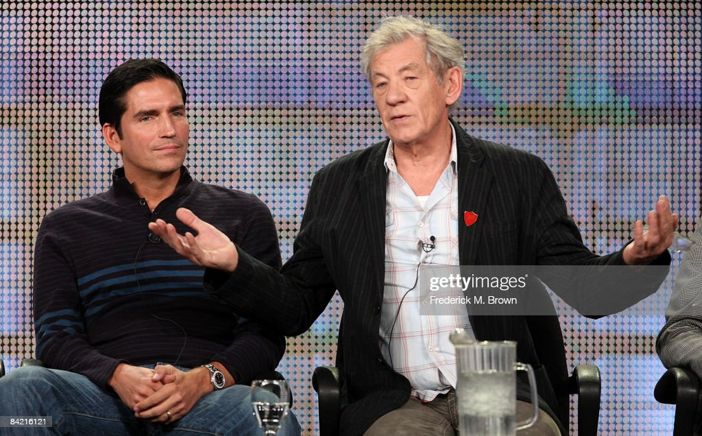 Actors Jim Caviezel (L) and Sir Ian McKellen speak during the AMC portion of the 2009 Winter Television Critics Association Press Tour at the Universal Hilton Hotel on January 8, 2009 in Los Angeles, California.