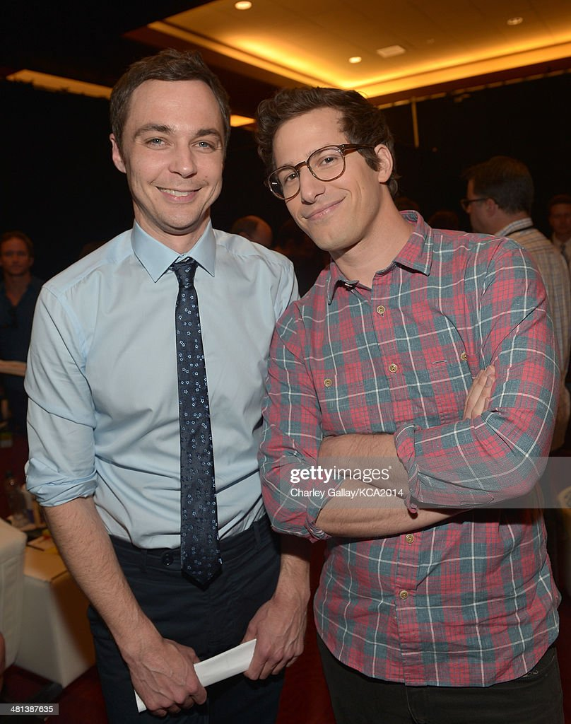 Actors <a gi-track='captionPersonalityLinkClicked' href=/galleries/search?phrase=Jim+Parsons&family=editorial&specificpeople=2480791 ng-click='$event.stopPropagation()'>Jim Parsons</a> and <a gi-track='captionPersonalityLinkClicked' href=/galleries/search?phrase=Andy+Samberg&family=editorial&specificpeople=595651 ng-click='$event.stopPropagation()'>Andy Samberg</a> attend Nickelodeon's 27th Annual Kids' Choice Awards held at USC Galen Center on March 29, 2014 in Los Angeles, California.