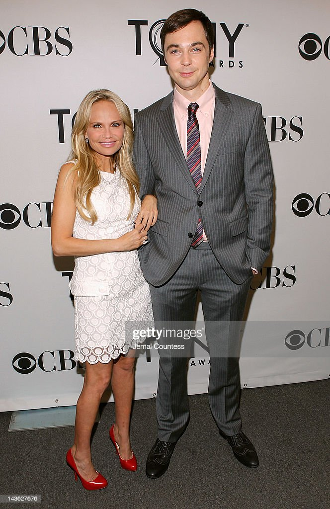 Actors Jim Parsons and Kristin Chenoweth attend the 2012 Tony Awards Nominations Announcement at The New York Public Library for Performing Arts on May 1, 2012 in New York City.