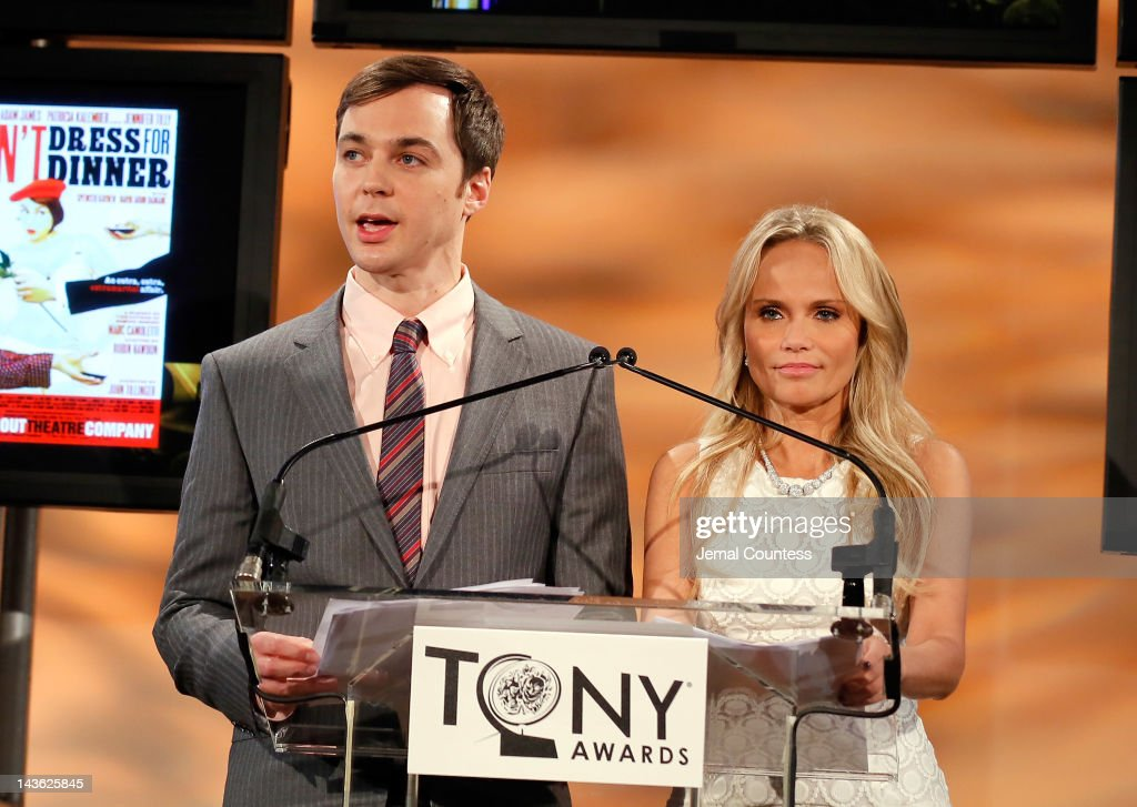 Actors Jim Parsons and Kristin Chenoweth present the 2012 Tony Awards Nominations Announcement at The New York Public Library for Performing Arts on May 1, 2012 in New York City.
