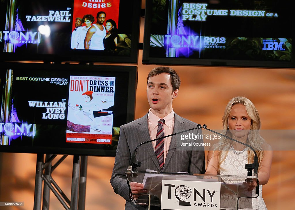 Actors <a gi-track='captionPersonalityLinkClicked' href=/galleries/search?phrase=Jim+Parsons&family=editorial&specificpeople=2480791 ng-click='$event.stopPropagation()'>Jim Parsons</a> and <a gi-track='captionPersonalityLinkClicked' href=/galleries/search?phrase=Kristin+Chenoweth&family=editorial&specificpeople=207096 ng-click='$event.stopPropagation()'>Kristin Chenoweth</a> present the 2012 Tony Awards Nominations Announcement at The New York Public Library for Performing Arts on May 1, 2012 in New York City.