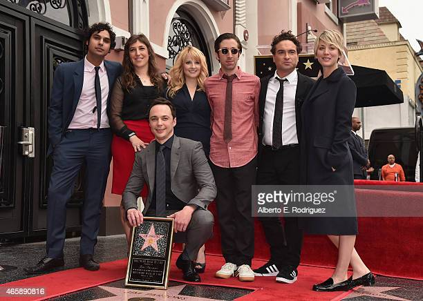 Actors Jim Parsons and Kunal Nayyar Mayim Bialik Melissa Rauch Simon Helberg Johnny Galecki and Kaley CuocoSweeting attend a ceremony honoring Jim...