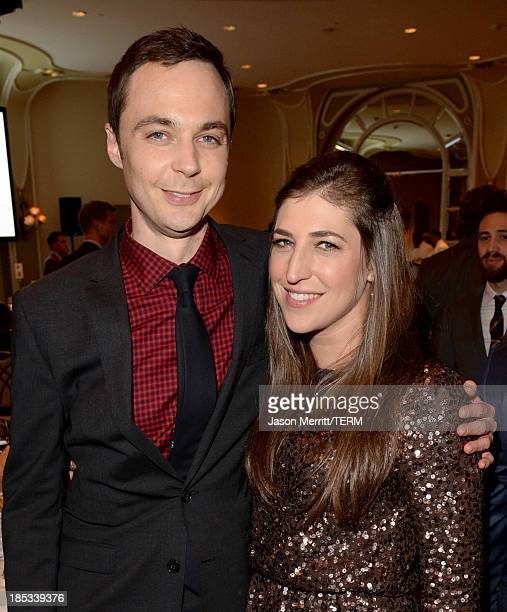 Actors Jim Parsons and Mayim Bialik attend the 9th Annual GLSEN Respect Awards at Beverly Hills Hotel on October 18 2013 in Beverly Hills California