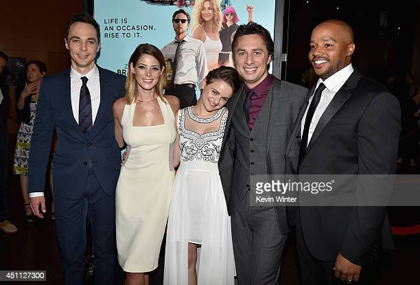 Actors Jim Parsons Ashley Greene Joey King Filmmaker/actor Zach Braff and actor Donald Faison attend Focus Features' 'Wish I Was Here' premiere at...