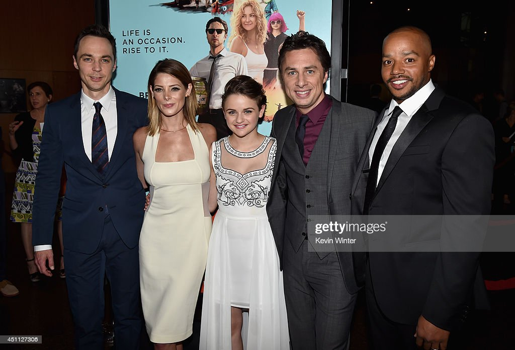 Actors <a gi-track='captionPersonalityLinkClicked' href=/galleries/search?phrase=Jim+Parsons&family=editorial&specificpeople=2480791 ng-click='$event.stopPropagation()'>Jim Parsons</a>, <a gi-track='captionPersonalityLinkClicked' href=/galleries/search?phrase=Ashley+Greene&family=editorial&specificpeople=781552 ng-click='$event.stopPropagation()'>Ashley Greene</a>, <a gi-track='captionPersonalityLinkClicked' href=/galleries/search?phrase=Joey+King+-+Actress&family=editorial&specificpeople=2264584 ng-click='$event.stopPropagation()'>Joey King</a>, Filmmaker/actor <a gi-track='captionPersonalityLinkClicked' href=/galleries/search?phrase=Zach+Braff&family=editorial&specificpeople=203253 ng-click='$event.stopPropagation()'>Zach Braff</a> and actor <a gi-track='captionPersonalityLinkClicked' href=/galleries/search?phrase=Donald+Faison&family=editorial&specificpeople=213042 ng-click='$event.stopPropagation()'>Donald Faison</a> attend Focus Features' 'Wish I Was Here' premiere at DGA Theater on June 23, 2014 in Los Angeles, California.