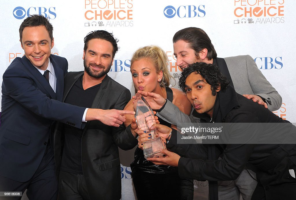 Actors Jim Parsons, Johnny Galecki, Kaley Cuoco, Simon Helberg and Kunal Nayyar pose in the press room during the People's Choice Awards 2010 held at Nokia Theatre L.A. Live on January 6, 2010 in Los Angeles, California.