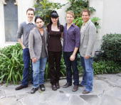 Actors Jim Parsons Johnny Galecki Pauley Perrette Barrett Foa and Michael Weatherly participate in a reading of 'The Laramie Project 10 Years Later'...