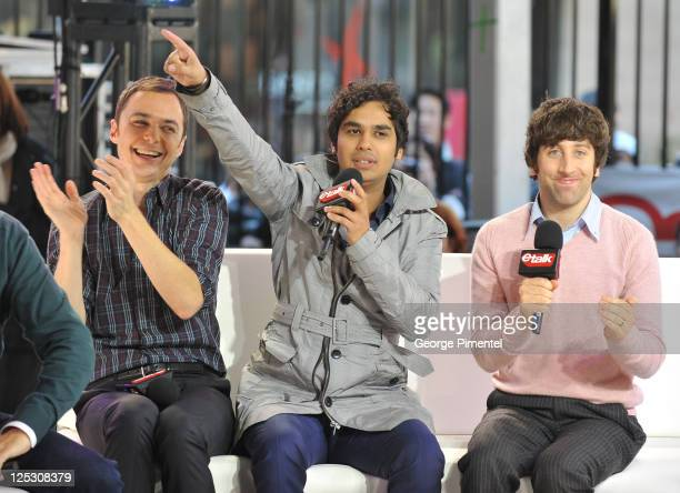 Actors Jim Parsons Kunal Nayyar and Simon Helberg of 'The Big Bang Theory' visit etalk Studios at CTV Queen St HQ Building on October 7 2010 in...