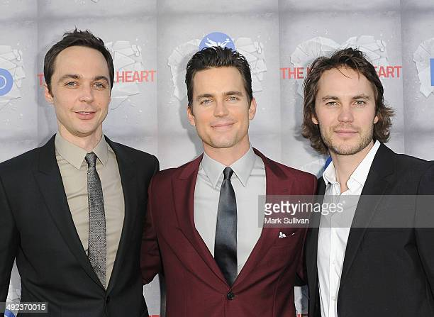 Actors Jim Parsons Matt Bomer and Taylor Kitsch attend the Los Angeles premiere of HBO's 'The Normal Heart' at The Writers Guild Theatre on May 19...