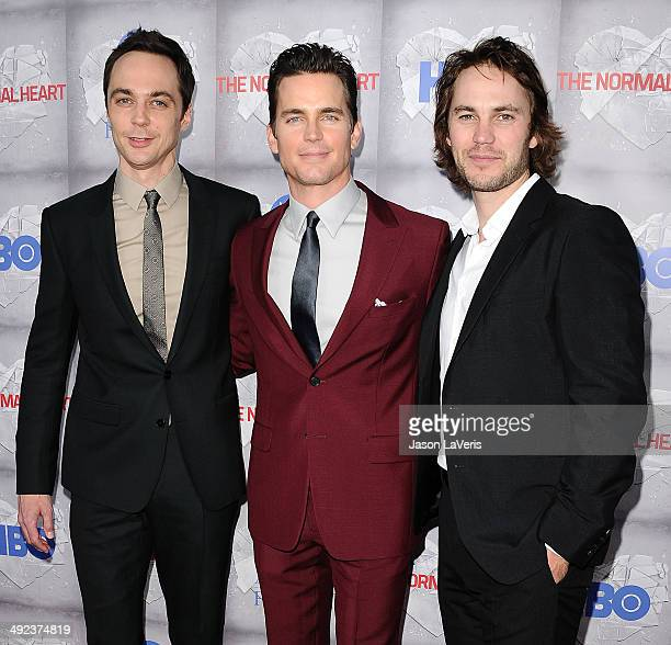 Actors Jim Parsons Matt Bomer and Taylor Kitsch attend the premiere of 'The Normal Heart' at The Writers Guild Theatre on May 19 2014 in Beverly...