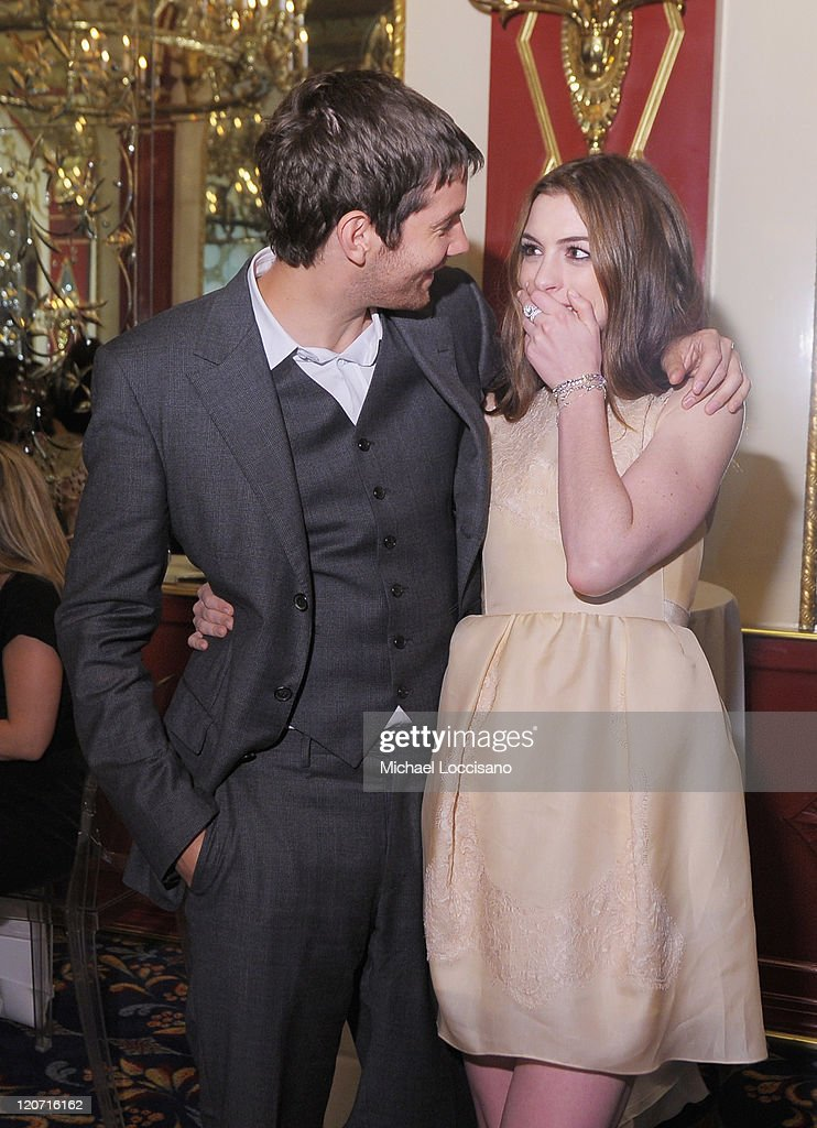 Actors Jim Sturgess and Anne Hathaway attend the 'One Day' premiere after party at the Russian Tea Room on August 8, 2011 in New York City.