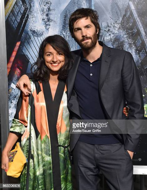 Actors Jim Sturgess and Dina Mousawi arrive at the premiere of 'Geostorm' at TCL Chinese Theatre on October 16 2017 in Hollywood California