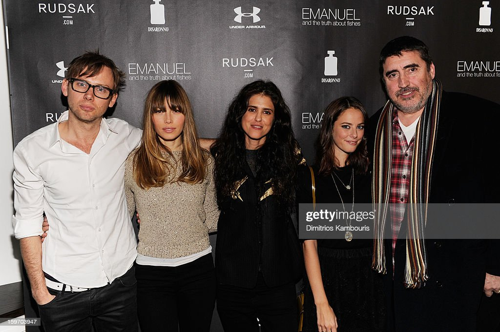 Actors Jimmi Simpson and Jessica Biel, director Francesca Gregorini and actors Kaya Scodelario and Alfred Molina attend The Next Generation Filmmaker Dinner Series Presents 'Emanuel And The Truth About Fishes' on January 18, 2013 in Park City, Utah.