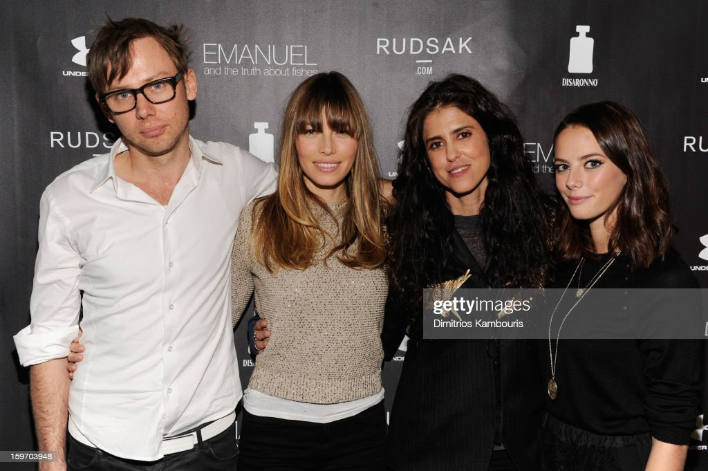Actors Jimmi Simpson and Jessica Biel, director Francesca Gregorini and actress Kaya Scodelario attend The Next Generation Filmmaker Dinner Series Presents 'Emanuel And The Truth About Fishes' on January 18, 2013 in Park City, Utah.