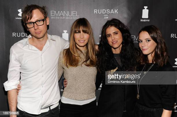 Actors Jimmi Simpson and Jessica Biel director Francesca Gregorini and actress Kaya Scodelario attend The Next Generation Filmmaker Dinner Series...
