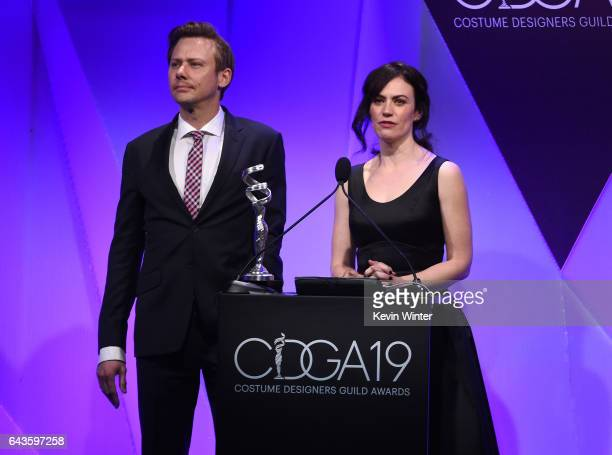 Actors Jimmi Simpson and Maggie Siff speak onstage at The 19th CDGA with Presenting Sponsor LACOSTE at The Beverly Hilton Hotel on February 21 2017...