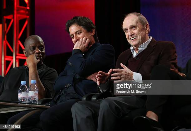 Actors Jimmie Walker Ray Romano and Bob Newhart speak onstage during the 'Pioneers of Television Season 4 'Acting Funny' 'Breaking Barriers' 'Doctors...