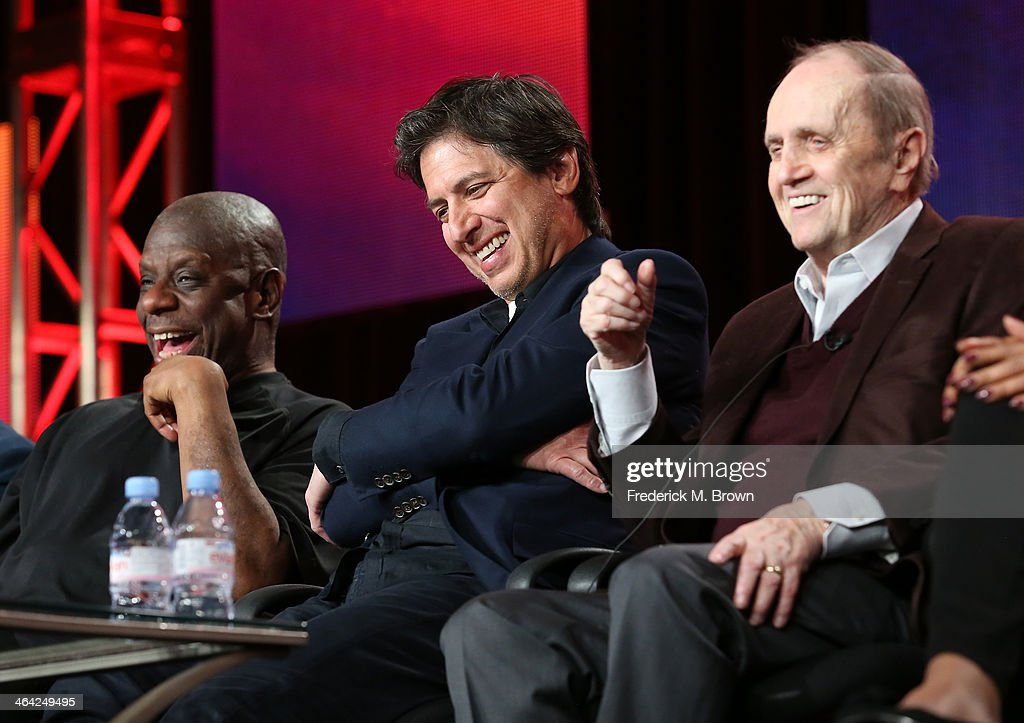 Actors <a gi-track='captionPersonalityLinkClicked' href=/galleries/search?phrase=Jimmie+Walker+-+Actor&family=editorial&specificpeople=650111 ng-click='$event.stopPropagation()'>Jimmie Walker</a>, <a gi-track='captionPersonalityLinkClicked' href=/galleries/search?phrase=Ray+Romano&family=editorial&specificpeople=201675 ng-click='$event.stopPropagation()'>Ray Romano</a> and <a gi-track='captionPersonalityLinkClicked' href=/galleries/search?phrase=Bob+Newhart&family=editorial&specificpeople=208111 ng-click='$event.stopPropagation()'>Bob Newhart</a> speak onstage during the 'Pioneers of Television, Season 4, 'Acting Funny', 'Breaking Barriers', 'Doctors and Nurses', and 'Standup to Sitcom' ' panel discussion at the PBS portion of the 2014 Winter Television Critics Association tour at Langham Hotel on January 21, 2014 in Pasadena, California.