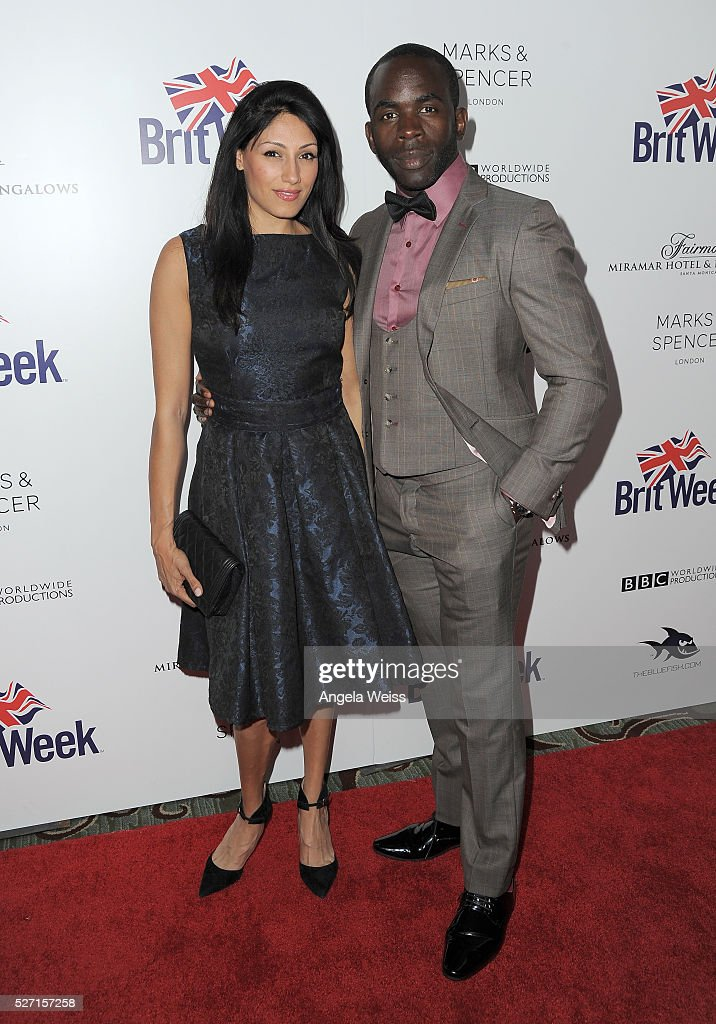 Actors Jimmy Akingbola (R) and <a gi-track='captionPersonalityLinkClicked' href=/galleries/search?phrase=Tehmina+Sunny&family=editorial&specificpeople=8518408 ng-click='$event.stopPropagation()'>Tehmina Sunny</a> attend BritWeek's 10th Anniversary VIP Reception & Gala at Fairmont Hotel on May 1, 2016 in Los Angeles, California.