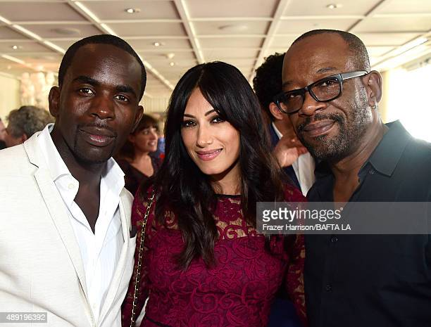 Actors Jimmy Akingbola Tehmina Sunny and Lennie James attend the 2015 BAFTA Los Angeles TV Tea at SLS Hotel on September 19 2015 in Beverly Hills...