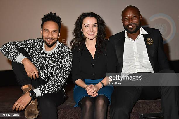 Actors Jimmy Jean Louis Isabelle Vitari and Yassine Azzouz attend '1 mobile 1 minute 1 film' As Part Of Mobile Film Festival At Gaumont ChampsElysees...