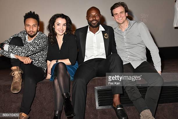 Actors Jimmy Jean Louis Isabelle Vitari Yassine Azzouz and Yacine Ait Kaci attend '1 mobile 1 minute 1 film' As Part Of Mobile Film Festival At...