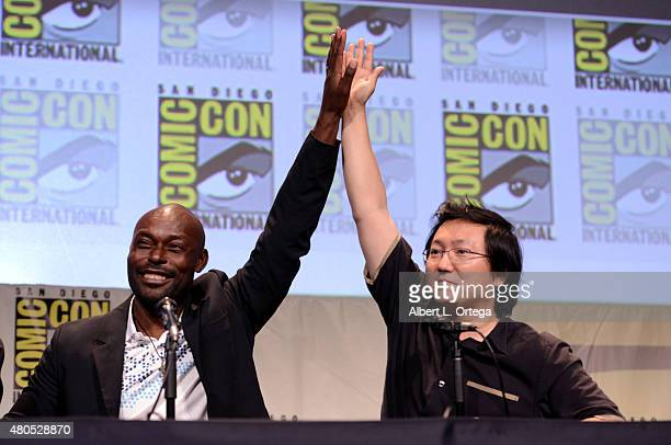 Actors Jimmy JeanLouis and Masi Oka speak onstage at the 'Heroes Reborn' exclusive extended trailer and panel during ComicCon International 2015 at...