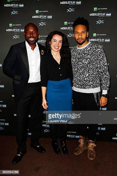 Actors Jimmy JeanLouis Isabelle Vitari and Yassine Azzouz attend '1 mobile 1 minute 1 film' as part of Mobile Film Festival at Gaumont Champs Elysees...
