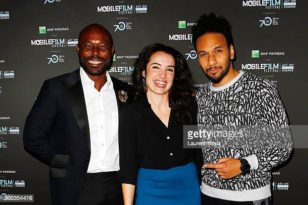 Actors Jimmy JeanLouis Isabelle Vitari and Yassine Azzouz attend '1 mobile 1 minute 1 film' as part of Mobile Film Festival at Gaumont Champs Elysees...