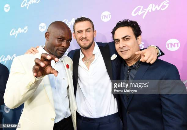 Actors Jimmy JeanLouis Jack Kesy and Jason Antoon attend the premiere of TNT's 'Claws' at Harmony Gold Theatre on June 1 2017 in Los Angeles...