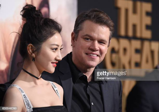 Actors Jing Tian and Matt Damon attend the premiere of Universal Pictures' 'The Great Wall' at TCL Chinese Theatre IMAX on February 15 2017 in...