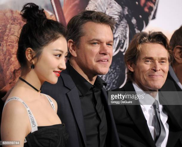 Actors Jing Tian Matt Damon and Willem Dafoe arrive at the premiere of Universal Pictures' 'The Great Wall' at TCL Chinese Theatre IMAX on February...