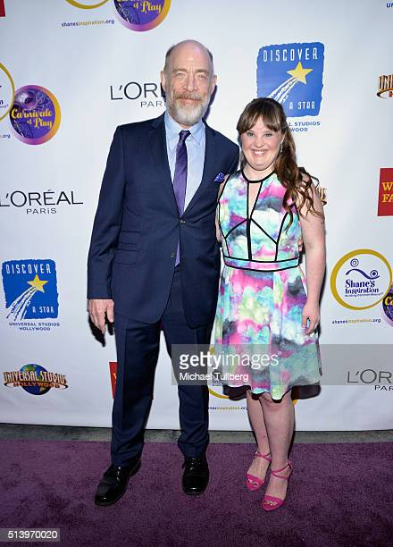 Actors JK Simmons and Jamie Brewer attend Shane's Inspiration's 15th Annual Gala at The Globe Theatre on March 5 2016 in Universal City California