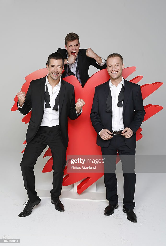 Actors Jo Weil, Florian Wuensche and Dominic Saleh-Zaki attend the 18th anniversary celebration of the TV-show 'Verbotene Liebe' on April 22, 2013 in Hamburg, Germany.
