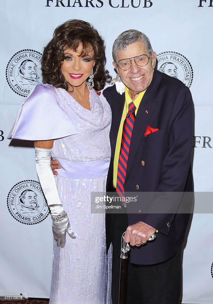 Actors <a gi-track='captionPersonalityLinkClicked' href=/galleries/search?phrase=Joan+Collins&family=editorial&specificpeople=109065 ng-click='$event.stopPropagation()'>Joan Collins</a> and <a gi-track='captionPersonalityLinkClicked' href=/galleries/search?phrase=Jerry+Lewis+-+Com%C3%A9dien&family=editorial&specificpeople=202947 ng-click='$event.stopPropagation()'>Jerry Lewis</a> attend the Friars Club salute to <a gi-track='captionPersonalityLinkClicked' href=/galleries/search?phrase=Joan+Collins&family=editorial&specificpeople=109065 ng-click='$event.stopPropagation()'>Joan Collins</a> at the Friars Club on May 4, 2015 in New York City.