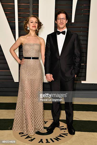 Actors Joanna Newsom and Andy Samberg attend the 2015 Vanity Fair Oscar Party hosted by Graydon Carter at Wallis Annenberg Center for the Performing...
