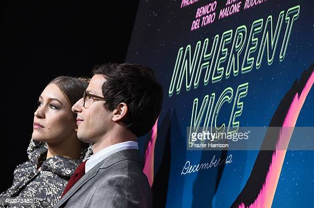 Actors Joanna Newsom and Andy Samberg attend the premiere of Warner Bros Pictures' 'Inherent Vice' at TCL Chinese Theatre on December 10 2014 in...