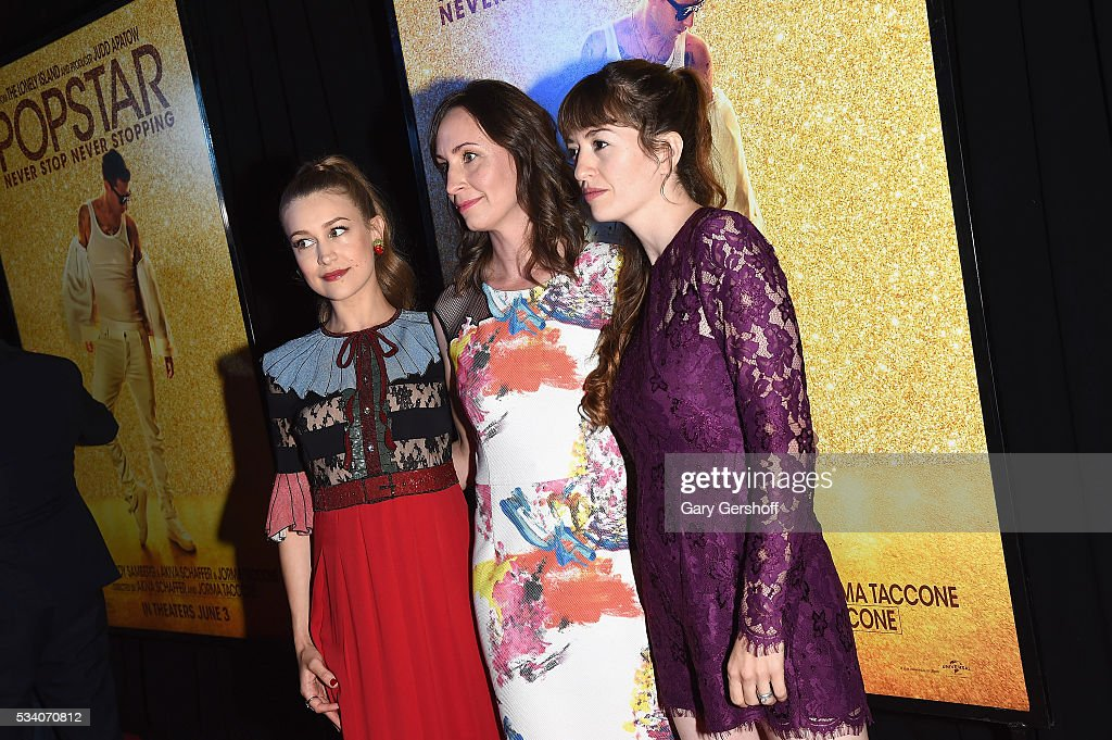 Actors Joanna Newsom, Liz Cackowski and <a gi-track='captionPersonalityLinkClicked' href=/galleries/search?phrase=Marielle+Heller&family=editorial&specificpeople=5891369 ng-click='$event.stopPropagation()'>Marielle Heller</a> attend the 'Popstar: Never Stop Never Stopping' New York premiere at AMC Loews Lincoln Square 13 theater on May 24, 2016 in New York City.