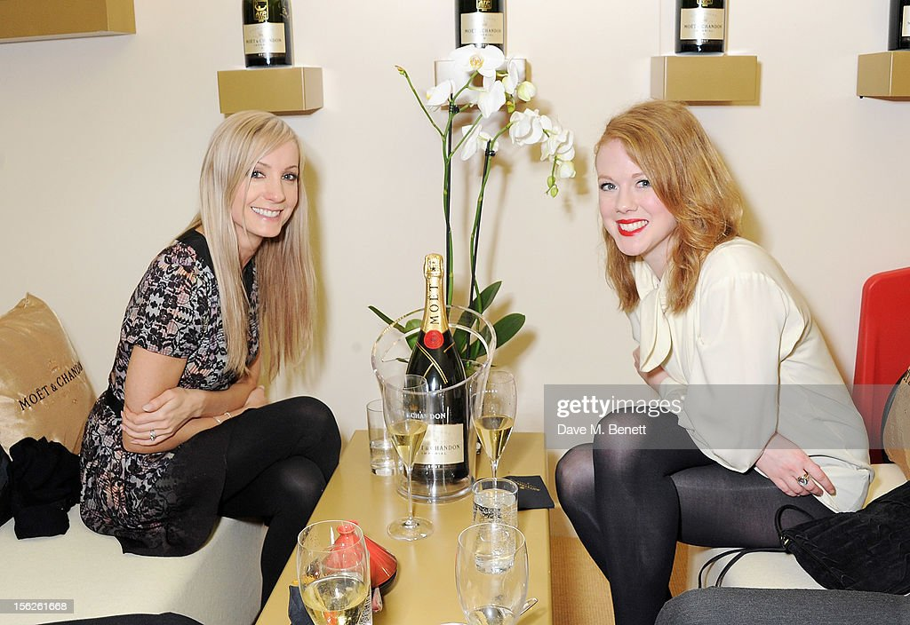 Actors <a gi-track='captionPersonalityLinkClicked' href=/galleries/search?phrase=Joanne+Froggatt&family=editorial&specificpeople=2364245 ng-click='$event.stopPropagation()'>Joanne Froggatt</a> (L) and Zoe Boyle attend the Moet & Chandon VIP Suite during day eight of the ATP World Finals at the O2 Arena on November 12, 2012 in London, England.