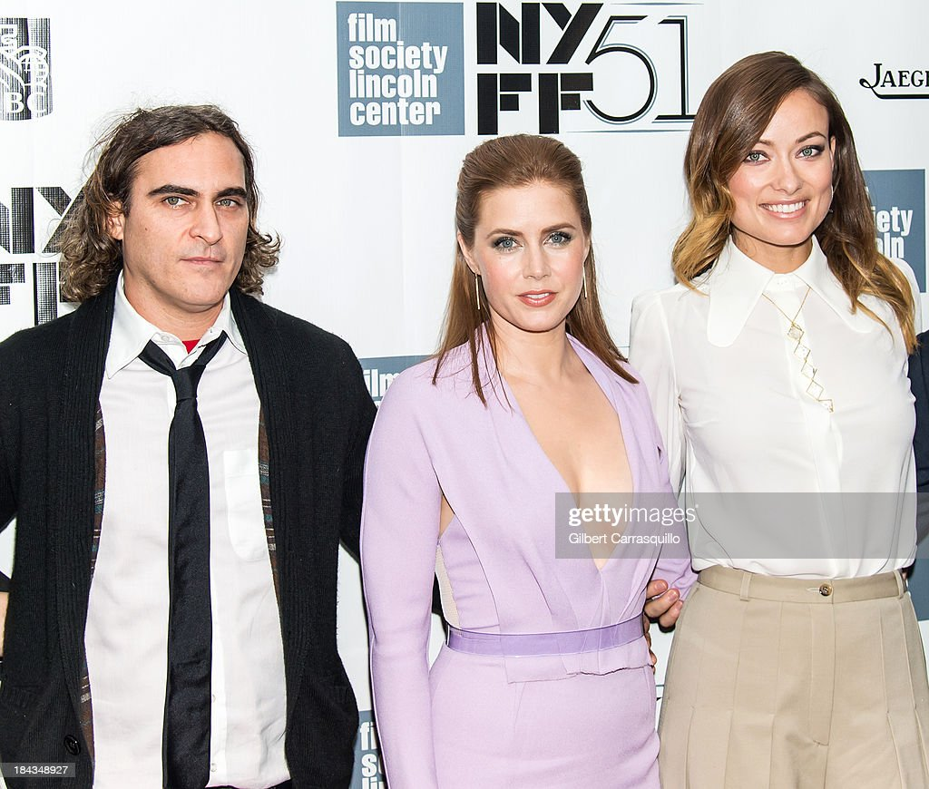 Actors <a gi-track='captionPersonalityLinkClicked' href=/galleries/search?phrase=Joaquin+Phoenix&family=editorial&specificpeople=215391 ng-click='$event.stopPropagation()'>Joaquin Phoenix</a>, <a gi-track='captionPersonalityLinkClicked' href=/galleries/search?phrase=Amy+Adams&family=editorial&specificpeople=213938 ng-click='$event.stopPropagation()'>Amy Adams</a> and <a gi-track='captionPersonalityLinkClicked' href=/galleries/search?phrase=Olivia+Wilde&family=editorial&specificpeople=235399 ng-click='$event.stopPropagation()'>Olivia Wilde</a> attend the Closing Night Gala Presentation Of 'Her' during the 51st New York Film Festival at Alice Tully Hall at Lincoln Center on October 12, 2013 in New York City.